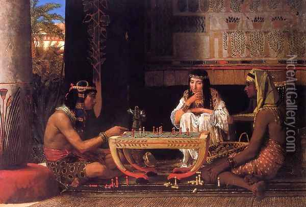 Egyptian Chess Players Oil Painting - Sir Lawrence Alma-Tadema