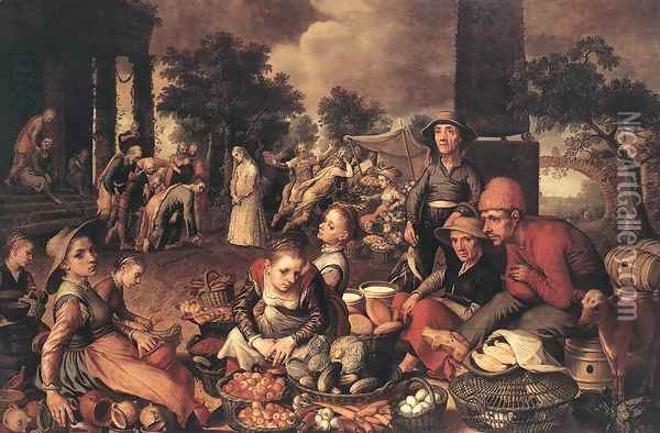 Market Scene with Christ and the Adulteress, 1559 Oil Painting - Pieter Aertsen