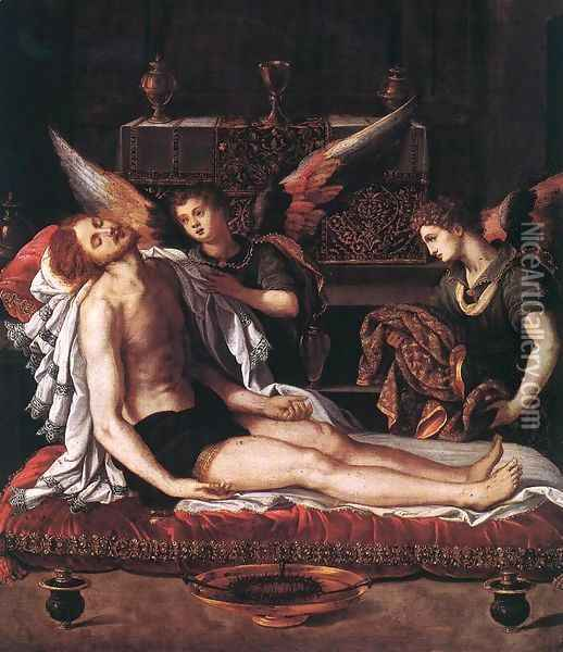 The Body of Christ with Two Angels 1600 Oil Painting - Alessandro Allori