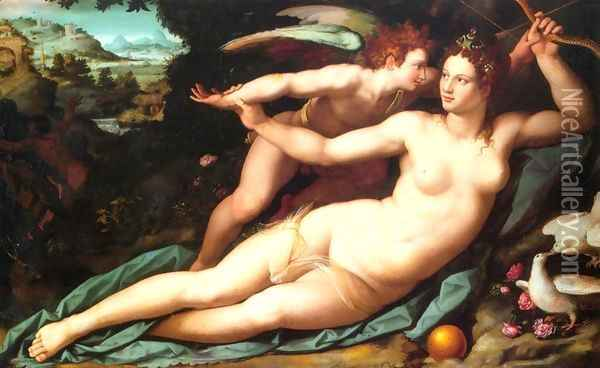 Venus and Cupid (1) Oil Painting - Alessandro Allori