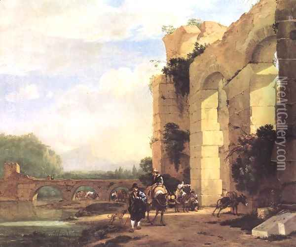 Italian Landscape With The Ruins Of A Roman Bridge And Aqueduct Oil Painting - Jan Asselyn