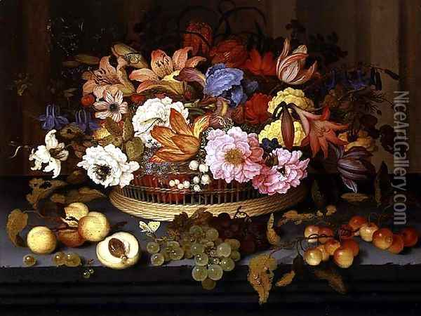 Still Life of Fruit and a Basket of Flowers, 1623 Oil Painting - Balthasar Van Der Ast