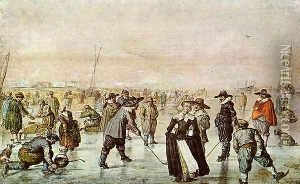 A Scene On The Ice Oil Painting - Hendrick Avercamp