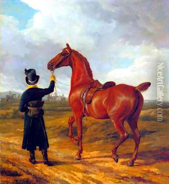 Lord Rivers' Groom Leading a Chestnut Hunter towards a Coursing Party in Hampshire Oil Painting - Jacques Laurent Agasse