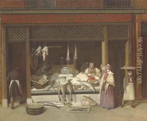 A fishmonger's shop Oil Painting - Jacques Laurent Agasse