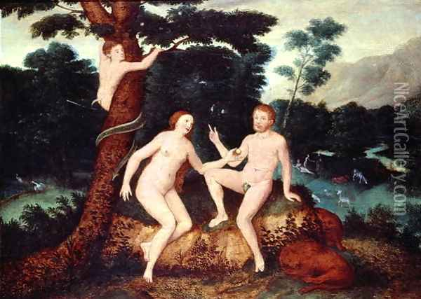 Adam and Eve in the Garden of Eden Oil Painting - Anonymous Artist