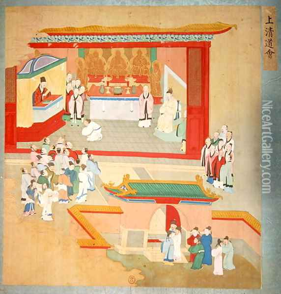 Emperor Hui Tsung (r.1100-26) practising with the Buddhist sect Tao-See, from a History of the Emperors of China Oil Painting - Anonymous Artist