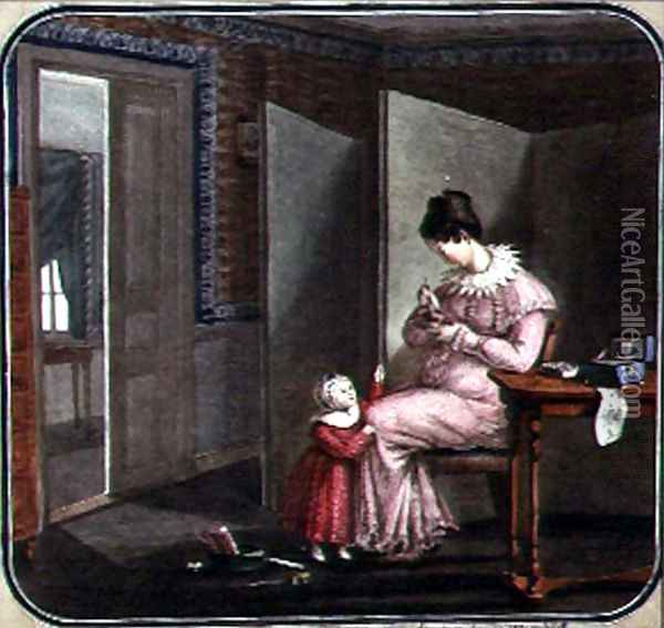 Mother and Child in an Interior, 1820 Oil Painting - Anonymous Artist