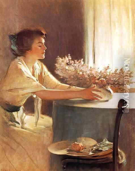 A Meadow Flower Oil Painting - John White Alexander