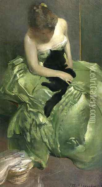 The Green Dress Oil Painting - John White Alexander