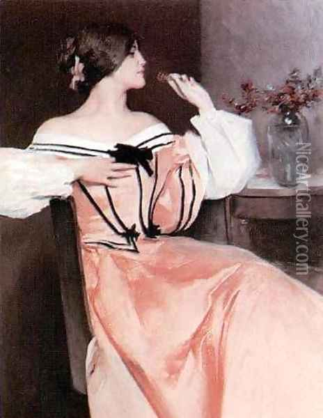 Lady in a Pink Dress Oil Painting - John White Alexander