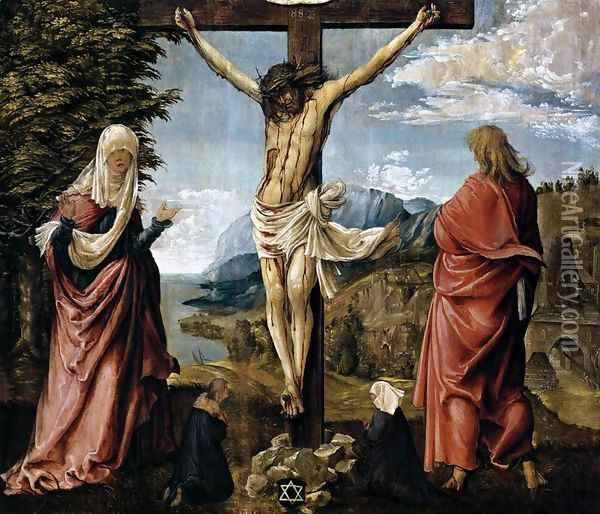 Christ on the Cross between Mary and St John 1512 Oil Painting - Albrecht Altdorfer