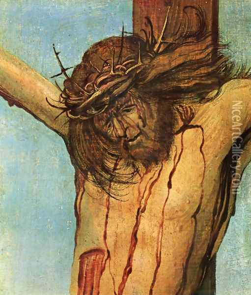 Christ on the Cross between Mary and St John (detail 1) Oil Painting - Albrecht Altdorfer