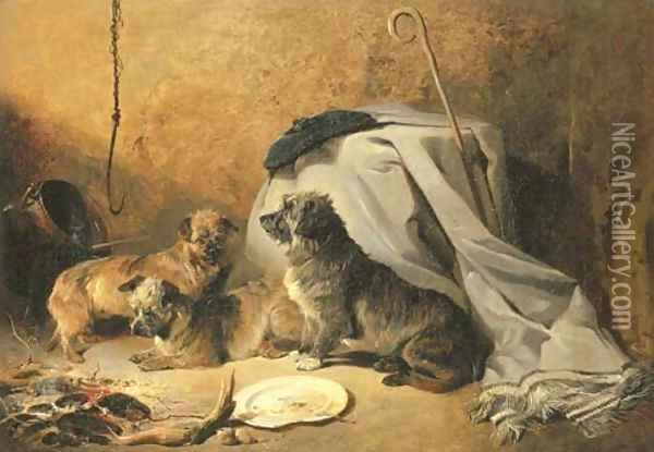 Three Dandie Dinmont Terriers by a cottage hearth Oil Painting - Richard Ansdell