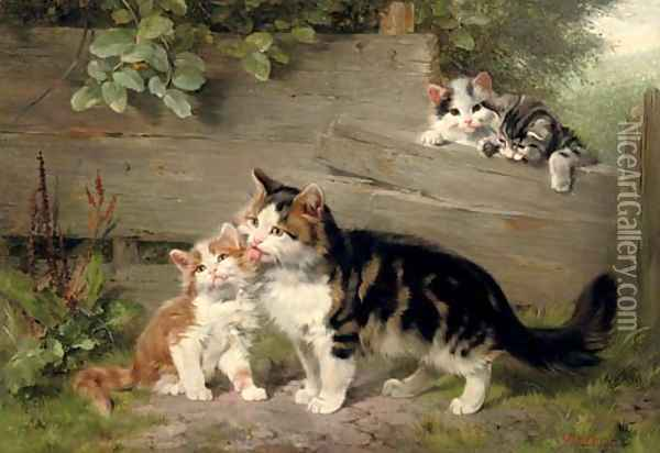 Motherly affection Oil Painting - Julius Adam