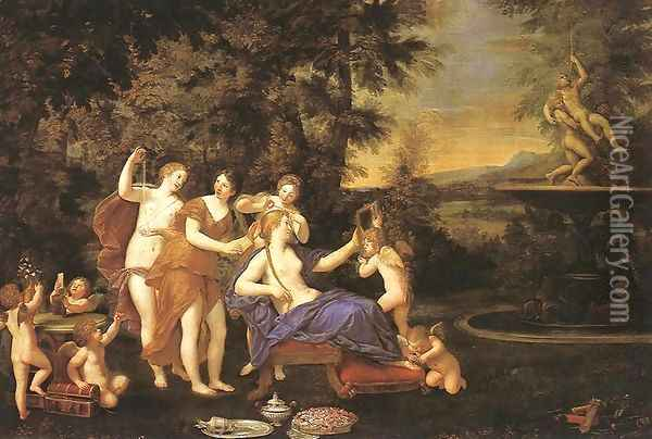 Venus Attended by Nymphs and Cupids 1633 Oil Painting - Francesco Albani