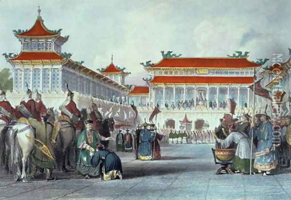 The Emperor Teaon-Kwang Reviewing his Guards, Palace of Peking, from 'China in a Series of Views' Oil Painting - Thomas Allom