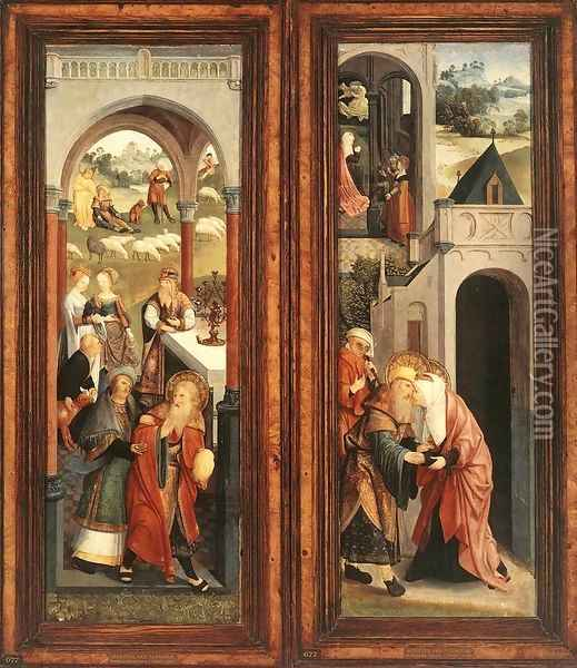 Scenes from the Life of Joachim and Anna c. 1500 Oil Painting - Master of Alkmaar