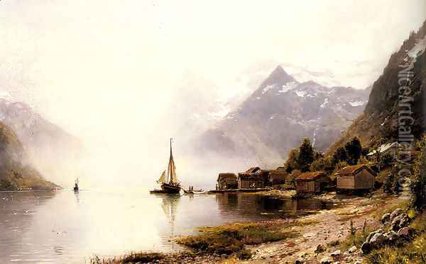 Norwegian Fjord with Snow Capped Mountains Oil Painting - Anders Monsen Askevold