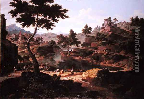 Classical landscape with figures and ruins Oil Painting - Etienne Allegrain