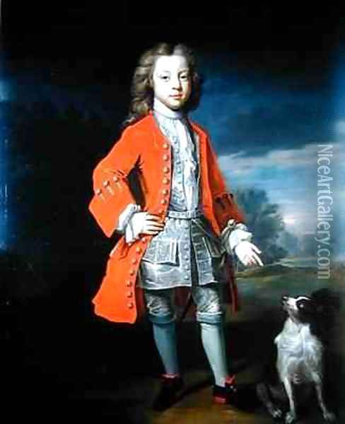 Portrait of a Boy Wearing a Red Jacket with his Spaniel Oil Painting - Charles d' Agar