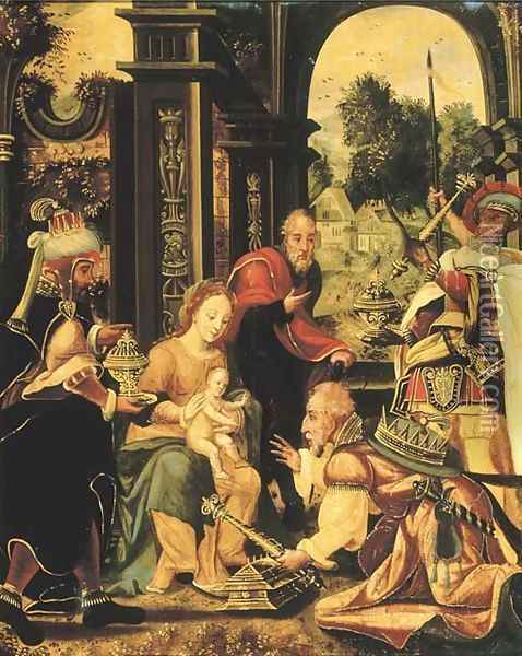 The Adoration of the Magi 2 Oil Painting - Pieter Coecke Van Aelst
