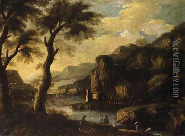 A mountainous River Landscape with Figures on a Path Oil Painting - Jacques d' Arthois