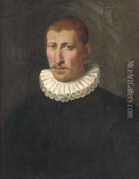 Portrait of a gentleman, bust-length, in a black doublet and a white ruff Oil Painting - Sofonisba Anguisciola