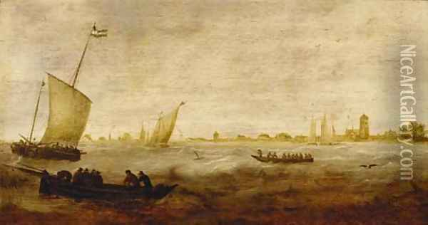 Sailors in a rowing boat with smalschips off a coastline Oil Painting - Hendrik van Anthonissen
