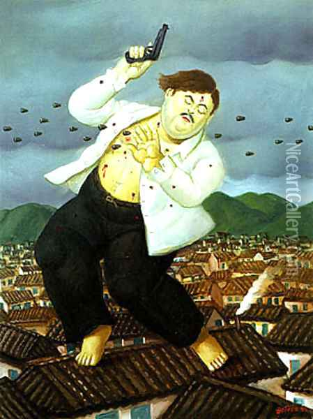 Death of Pablo Escobar Oil Painting - Fernando Botero