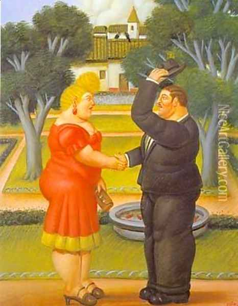 Good Morning 1996 Oil Painting - Fernando Botero