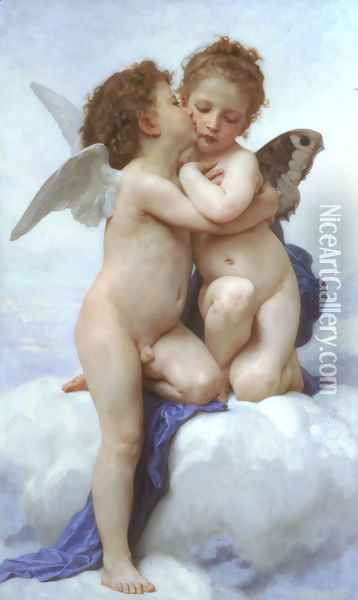 L'Amour et Psyche, enfants (Cupid and Psyche as Children) Oil Painting - William-Adolphe Bouguereau
