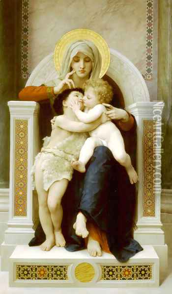 La Vierge, L'Enfant Jesus et Saint Jean Baptiste (The Virgin, the Baby Jesus and Saint John the Baptist) Oil Painting - William-Adolphe Bouguereau