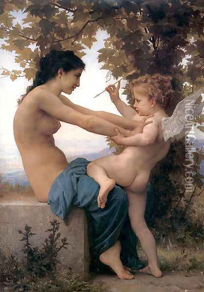 Jeune Fille Se Defendant Contre Lamour Oil Painting - William-Adolphe Bouguereau