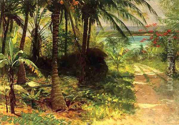 Tropical Landscape Oil Painting - Albert Bierstadt