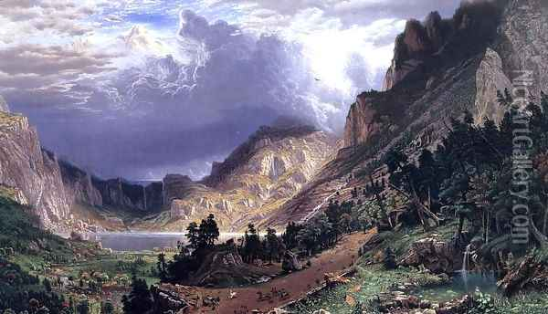 Storm in the Rocky Mountains, Mt. Rosalie Oil Painting - Albert Bierstadt