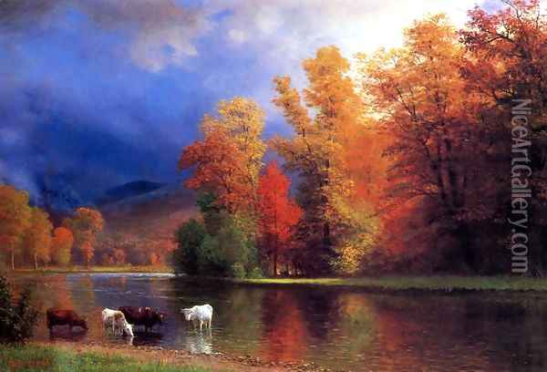 On The Saco Oil Painting - Albert Bierstadt