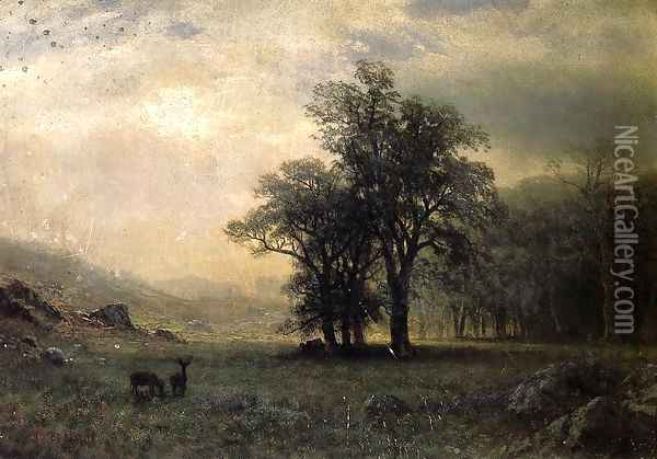 Deer In A Landscape Oil Painting - Albert Bierstadt