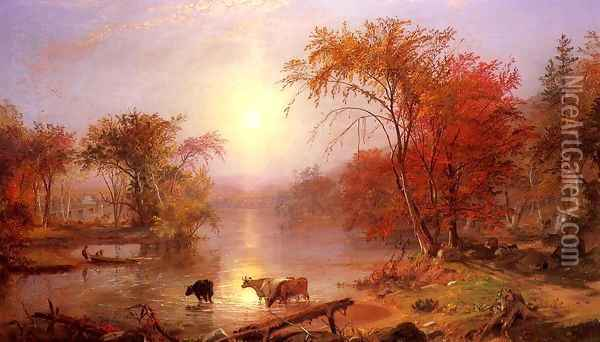Indian Summer Hudson River Oil Painting - Albert Bierstadt