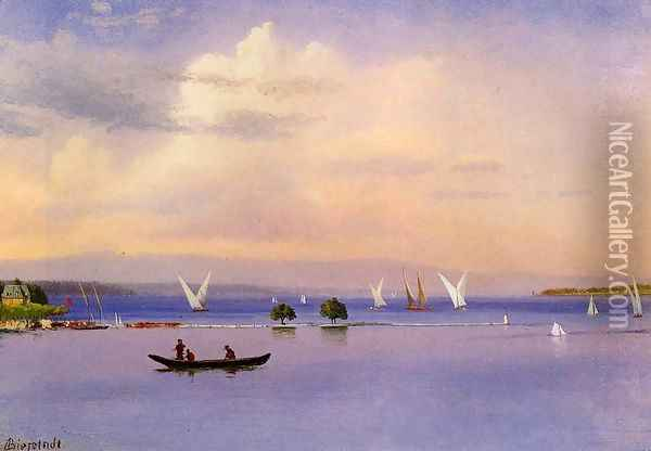 On The Lake Oil Painting - Albert Bierstadt
