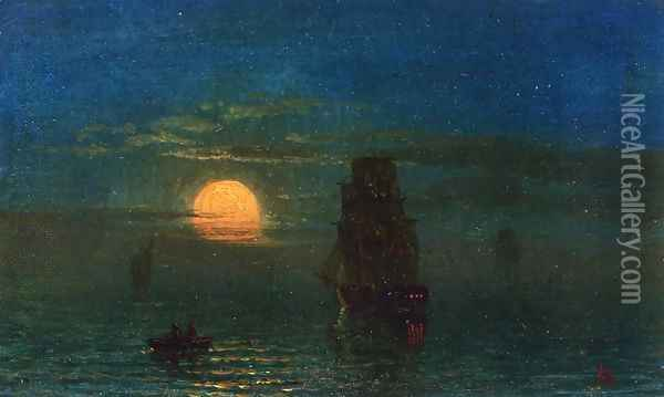Ships in Moonlight Oil Painting - Albert Bierstadt