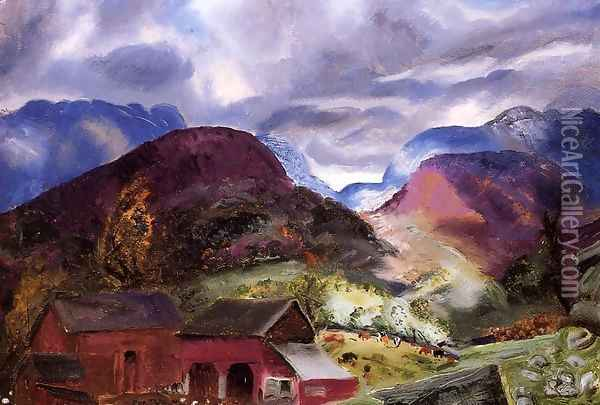 Snow Capped Mountains Oil Painting - George Wesley Bellows