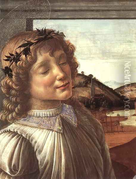 Madonna and Child with an Angel (detail) c. 1470 Oil Painting - Sandro Botticelli