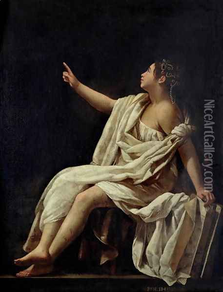 Polyhymnia, the Muse of Lyric Poetry 1620 Oil Painting - Giovanni Baglione