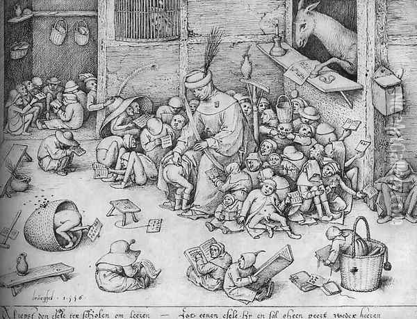 The Ass in the School 1556 Oil Painting - Pieter the Elder Bruegel
