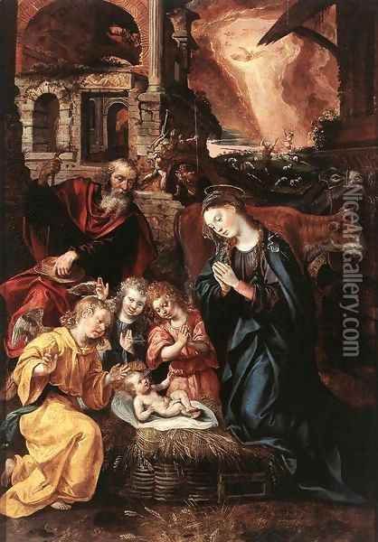 The Nativity Oil Painting - Jacob De Backer