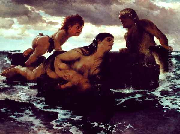 Sea Idyll, 1887 Oil Painting - Arnold Bocklin