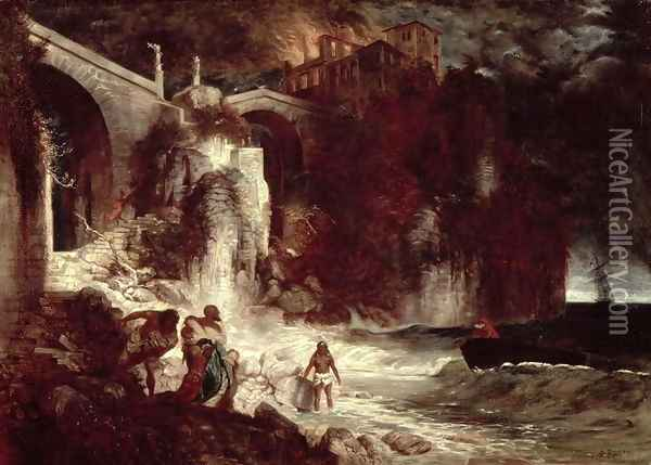 Pirate assault on a coastal fort, 1872 Oil Painting - Arnold Bocklin