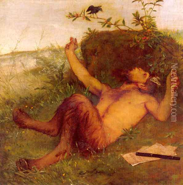 Faun Whistling to a Blackbird 1875 Oil Painting - Arnold Bocklin