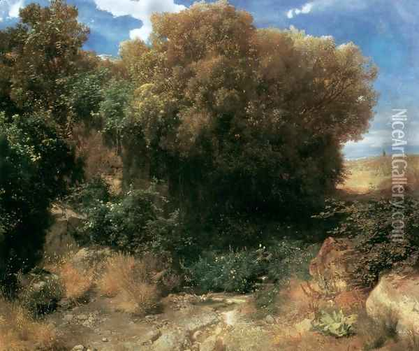 Campagna Landscape 1857-58 Oil Painting - Arnold Bocklin